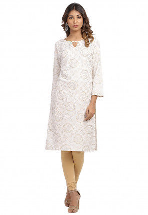 Golden Printed Cotton Straight Kurta in White