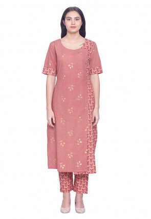 Golden Printed Cotton Straight Kurta Set in Peach
