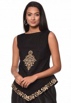 Golden Printed Cotton Top in Black