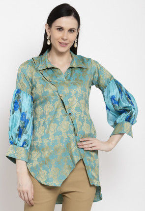 Golden Printed Cotton Top in Dusty Blue