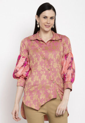 Golden Printed Cotton Top in Pink