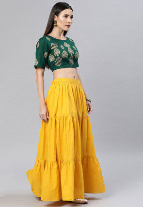 Golden Printed Cotton Top Set in Dark Green and Dark Yellow