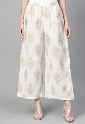 Golden Printed Cotton Wide Legged Palazzo in Off White