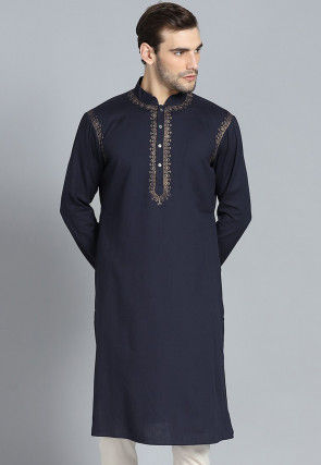 Golden Printed CottonKurta in Black