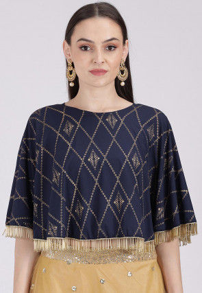 Golden Printed Crepe Cape Style Crop Top in Navy Blue