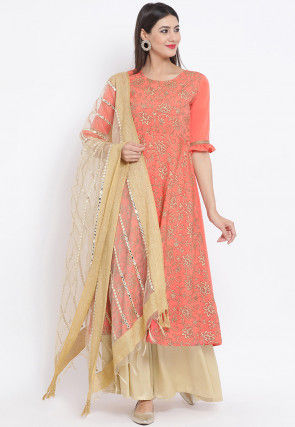 Golden Printed Crepe Pakistani Suit in Peach