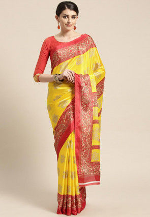 Golden Printed Crepe Saree in Yellow