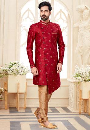 Golden Printed Dupion Silk Asymmetric Sherwani in Maroon