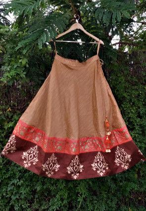 Golden Printed Dupion Silk Bias Cut Skirt in Beige