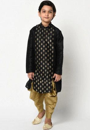 Golden Printed Dupion Silk Dhoti Kurta in Black