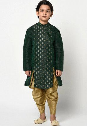 Golden Printed Dupion Silk Dhoti Kurta in Dark Green
