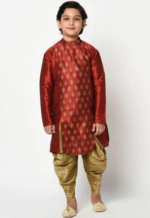 Golden Printed Dupion Silk Dhoti Kurta in Maroon