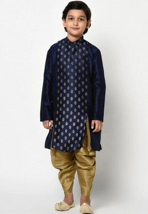 Golden Printed Dupion Silk Dhoti Kurta in Navy Blue