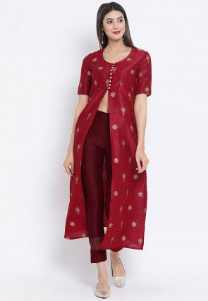 Golden Printed Dupion Silk Front Slit Kurta in Maroon
