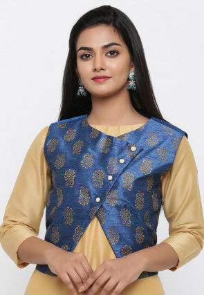 Golden Printed Dupion Silk Jacket in Blue