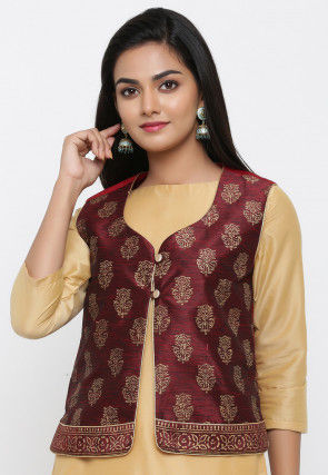 Golden Printed Dupion Silk Jacket in Maroon