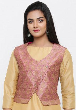 Golden Printed Dupion Silk Jacket in Pink