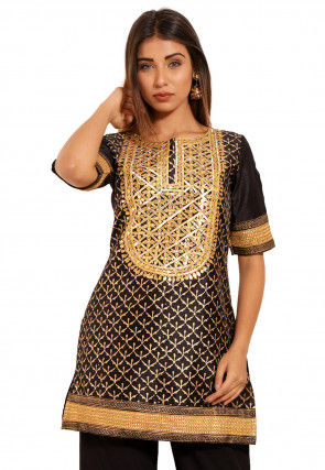 Golden Printed Dupion Silk Kurti in Black
