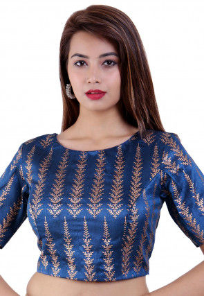 Golden Printed Dupion Silk Padded Blouse in Blue