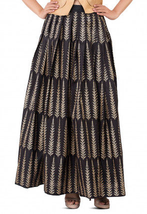 Golden Printed Pleated Dupion silk Skirt in Black