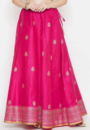 Golden Printed Dupion Silk Skirt in Fuchsia