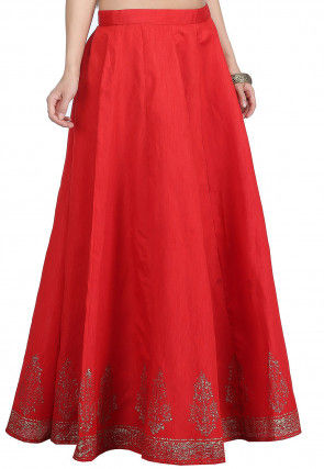 Golden Printed Dupion Silk Skirt in Red