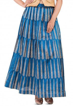 Golden Printed Pleated Dupion Silk Skirt in Teal Blue