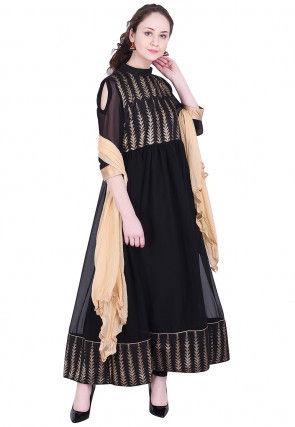 Golden Printed Georgette Anarkali Suit in Black