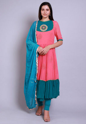 Golden Printed Georgette Anarkali Suit in Pink