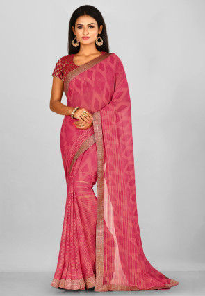 Golden Printed  Georgette Saree in Coral Pink