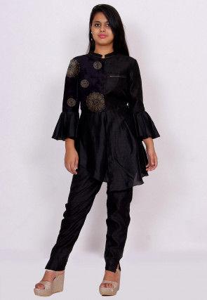Golden Printed Kota Silk Asymmetric Top in Black