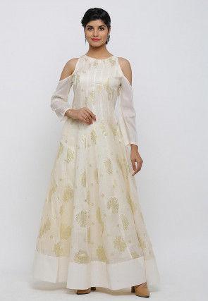 Golden Printed Kota Silk Gown in Cream