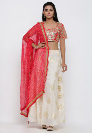 Golden Printed Kota Silk Lehenga in Off White