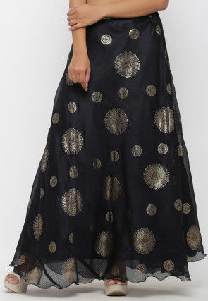 Golden Printed Kota Silk Long Skirt in Black