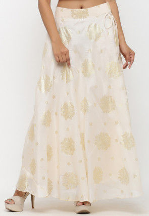Golden Printed Kota Silk Long Skirt in Off White
