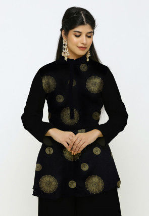 Golden Printed Kota Silk Peplum Style Kurti in Black