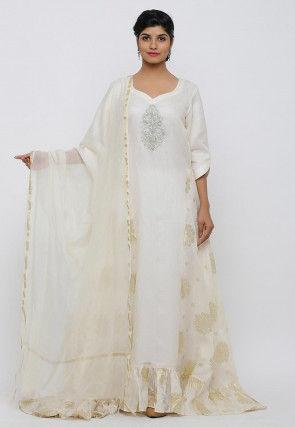Golden Printed Kota Silk Ruffled Hem Abaya Style Suit in Cream