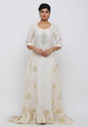 Golden Printed Kota Silk Ruffled Hem Gown in Cream