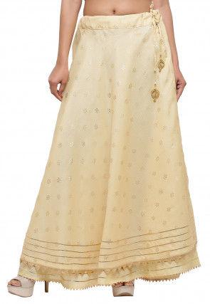 Golden Printed Kota Silk Skirt in Beige