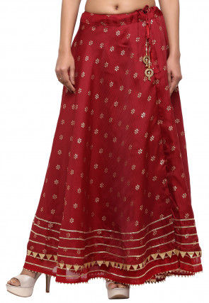 Golden Printed Kota Silk Skirt in Maroon