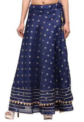 Golden Printed Kota Silk Skirt in Navy Blue
