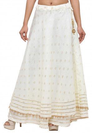 Golden Printed Kota Silk Skirt in Off White