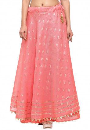 Golden Printed Kota Silk Skirt in Peach