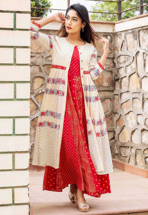 Golden Printed Modal Satin Jacket Style Kurta in Red and Cream