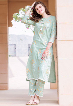 Golden Printed Muslin Cotton Straight Kurta Set in Sea Green