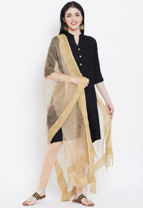 Golden Printed Organza Dupatta in Beige