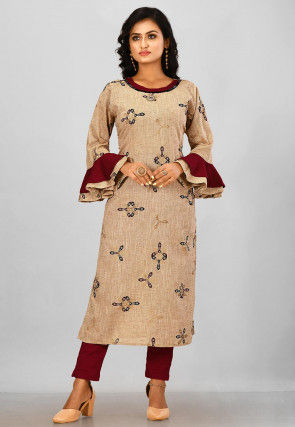 Golden Printed Poly Cotton Pakistani Suit in Beige