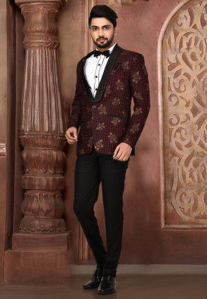 Golden Printed Polyester Lycra Tuxedo in Black and Maroon