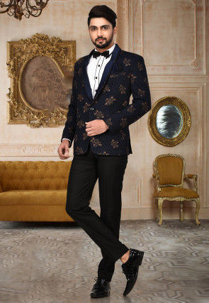 Golden Printed Polyester Lycra Tuxedo in Black and Navy Blue