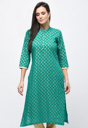Golden Printed Polyester Straight Kurta in Teal Green